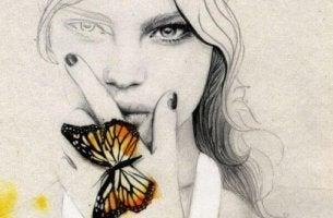 Zu hohe Erwartungen - Zeichnung einer perfekten Frau mit Schmetterling auf der Hand