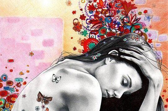 Frau mit Schmetterlingen auf dem Ruecken