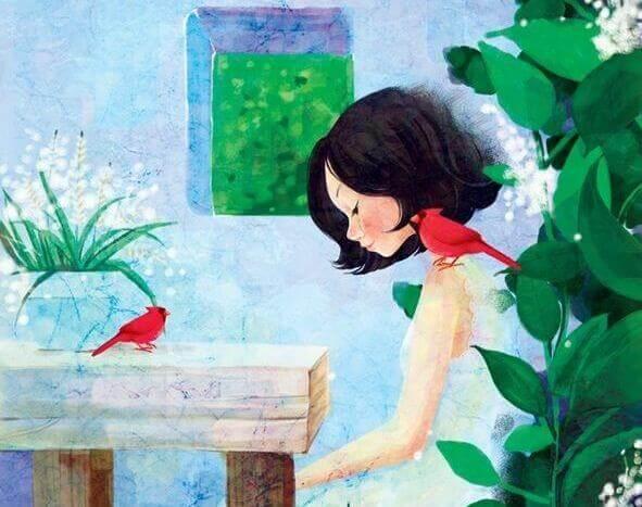 Als ich dich am meisten brauchte - Frau allein mit zwei Vögeln
