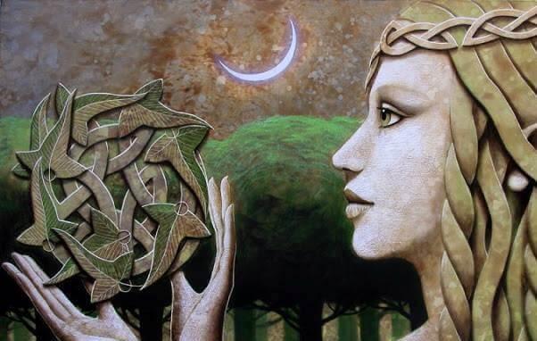Frau mit keltischem Symbol