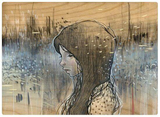 Traurige Frau in undeutlicher Welt