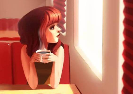 Frau-rot-Kaffee