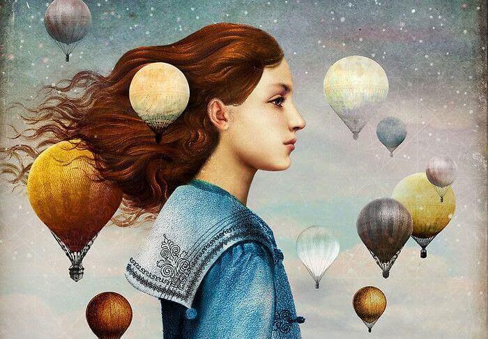 Frau umgeben von Heißluftballons