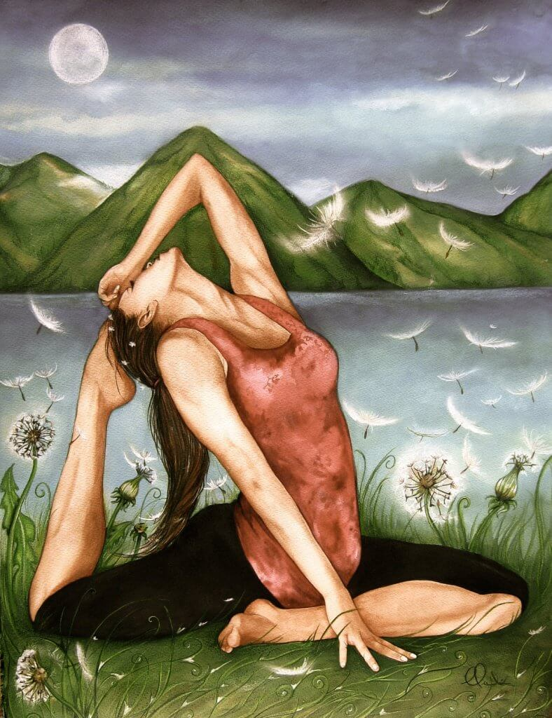 Frau praktiziert Yoga und ist umgeben von Löwenzahn