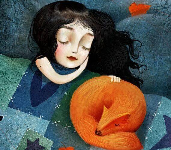 Mädchen und Rotfuchs schlafen