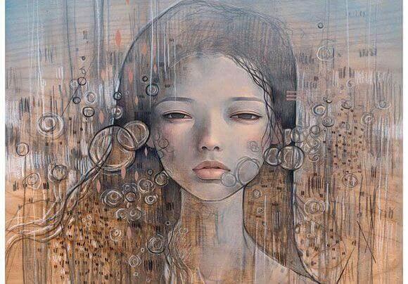 Gesicht einer nachdenklichen Frau