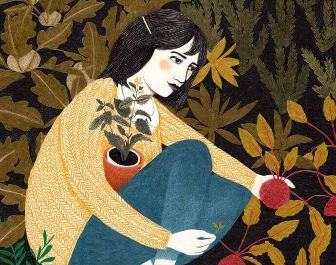 Glueckliche Frau im Garten