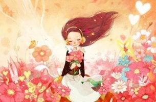 Als Single glücklich? - Mädchen allein im Blumenfeld