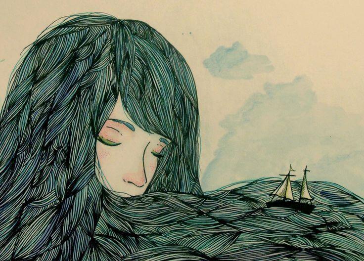 Haare einer Frau werden zum Meer
