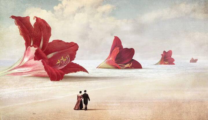 Hochsensible Menschen in einer Wüste mit riesigen Blüten