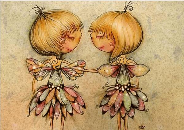 Mädchen mit Flügeln und bunten Röcken