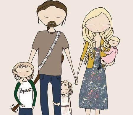 Mutter, Vater und drei Kinder