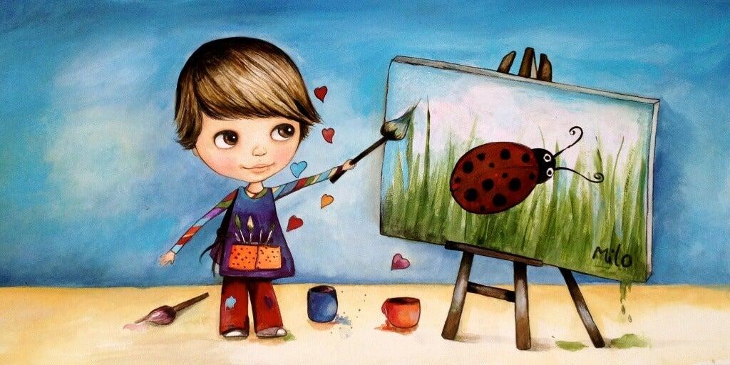 Kind malt ein Bild