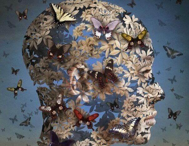 Kopf einer Frau in Schmetterlinge gehuellt