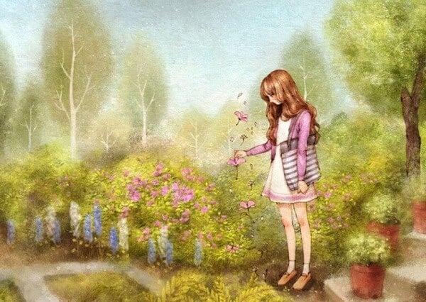 Maedchen-pflueckt-Blumen