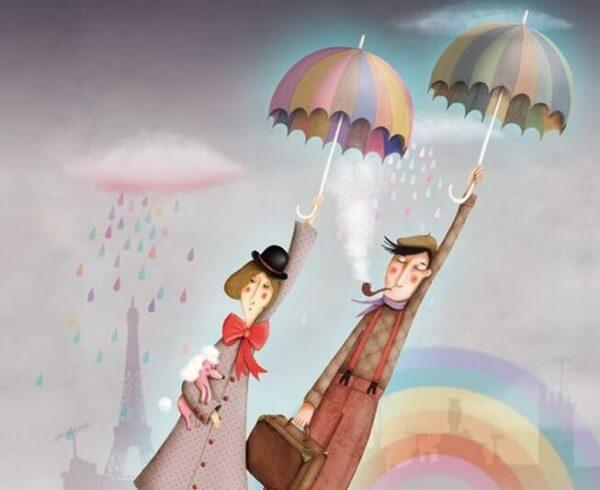 Mann-Frau-Regenschirme