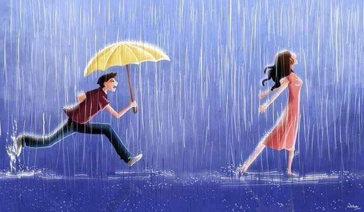 Mann-rennt-Frau-mit-Schirm-nach