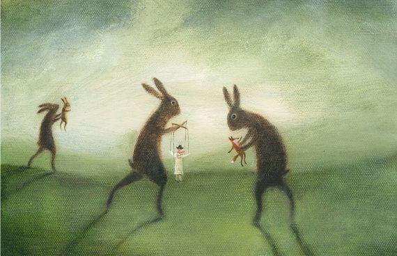 Hasen spielen mit Marionetten