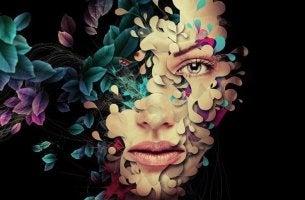 Mental starke Menschen - Gesicht einer Frau im Dschungel des Lebens