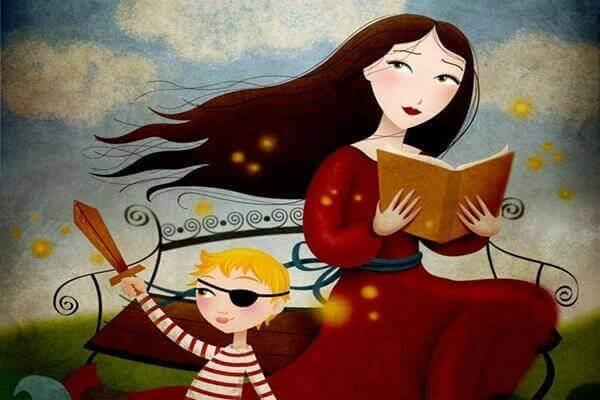 Mutter liest ihrem Kind ein Buch vor