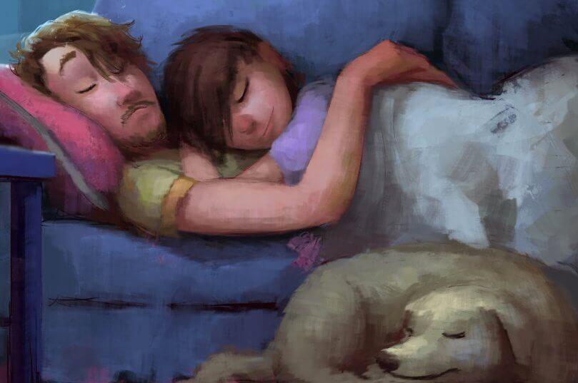 Paar-mit-Hund-auf-Sofa