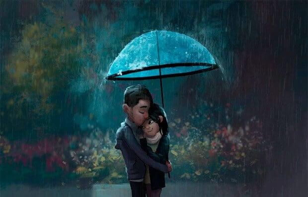 Paar-unter-Regenschirm