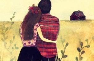 Zusammen, aber eigenständig - Partner umarmen sich und schauen in die Ferne