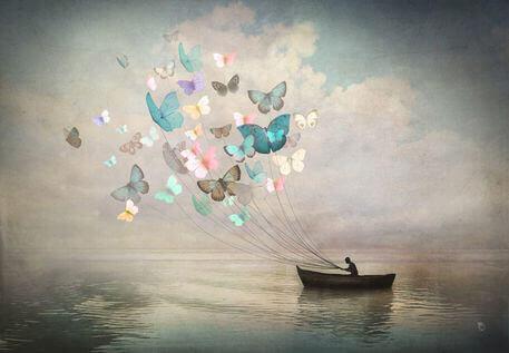 Schmetterlinge ziehen Boot
