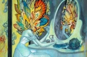 Besonders sein - Schmetterlingsfee vor dem Spiegel