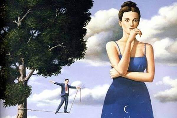 Unsichere und nachdenkliche Frau