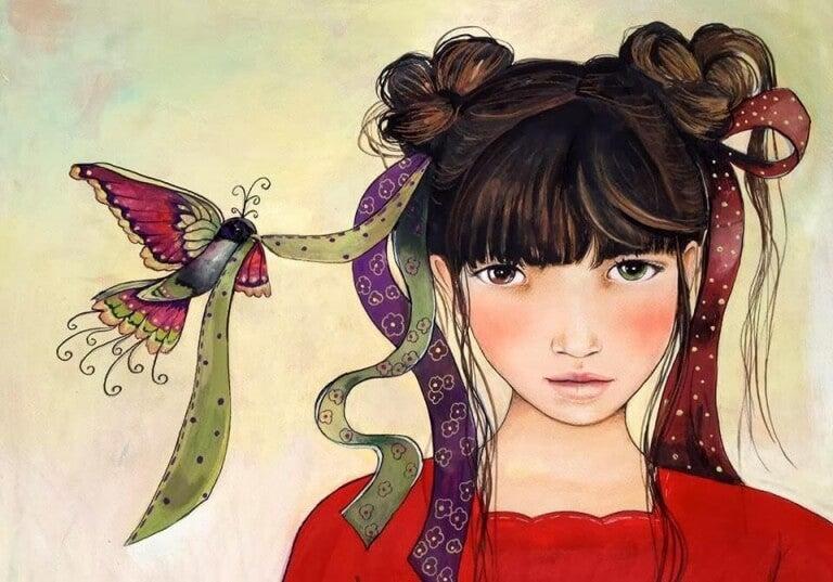 Vogel hält das Haarband eines Mädchens