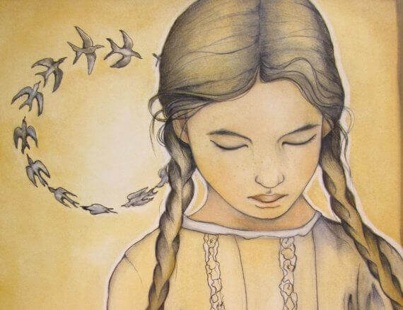Kreisende Vögel hinter einem Mädchen