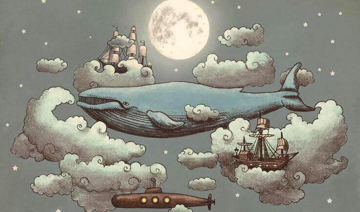 Blauwal zwischen Wolken und Schiffen