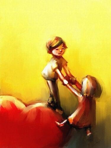 Junge hilft Mädchen auf ein Herz