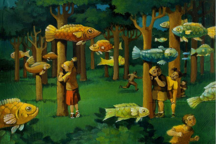 Kinder-spielen-Verstecken-mit-Fischen-im-Wald