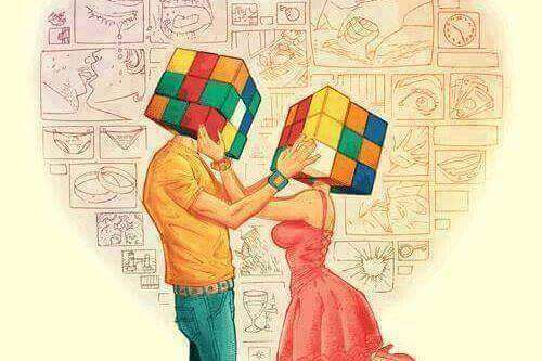 Rubikwürfel als Köpfe