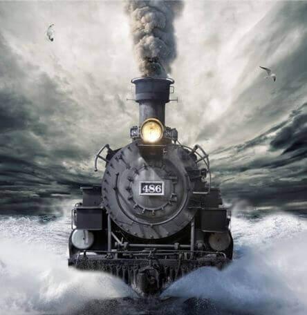 Lokomotive fährt durch das Wasser