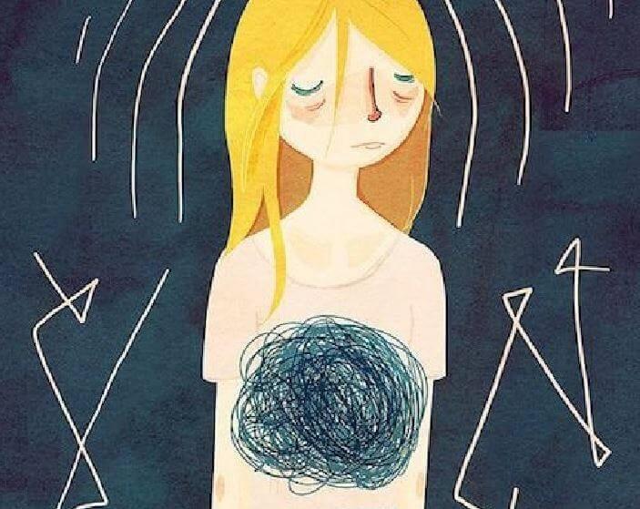 gestresste-Frau-mit-Knoten-im-Bauch
