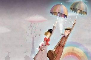 Mann und Frau fliegen an Regenschirmen in die Luft