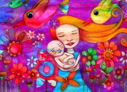 Mutter-und-Kind-umgeben-von-Voegeln