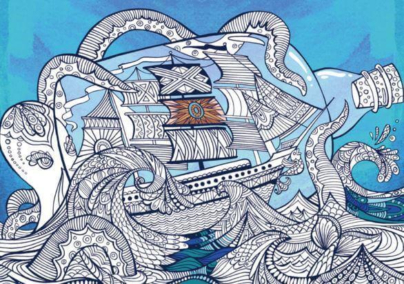 Schiff auf dem Meer zum Ausmalen