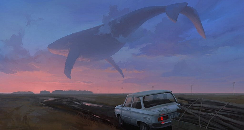 Blauwal am Himmel