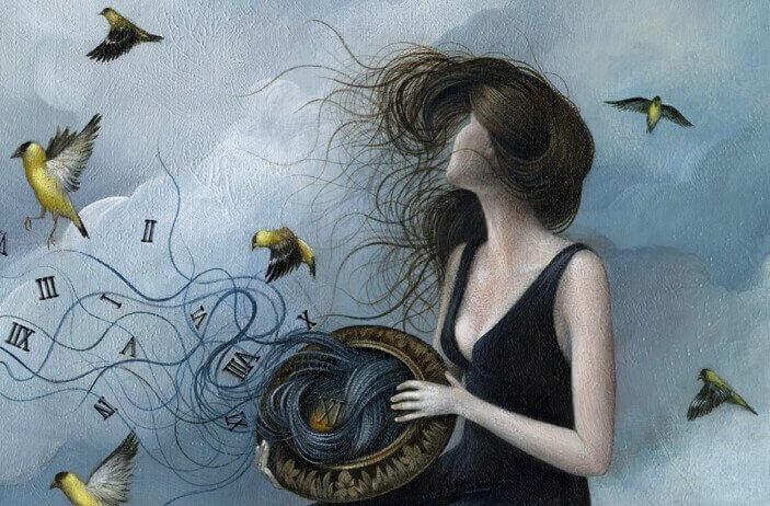 Frau-im-Wind-mit-Voegeln