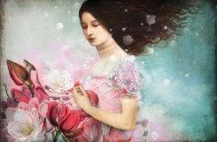 frau-rosa-blumen