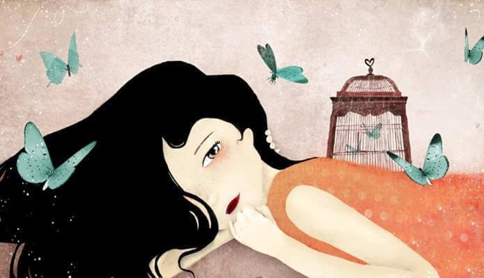 Liegend-Frau-umgeben-von-Schmetterlingen