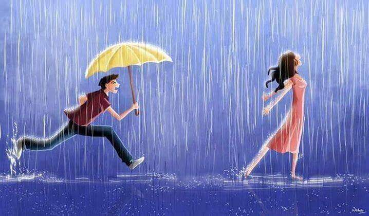 Mann-rennt-mit-Regenschirm-Frau-hinterher
