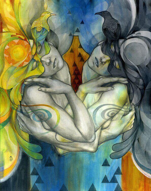 Spiegelung-zweier-Frauen