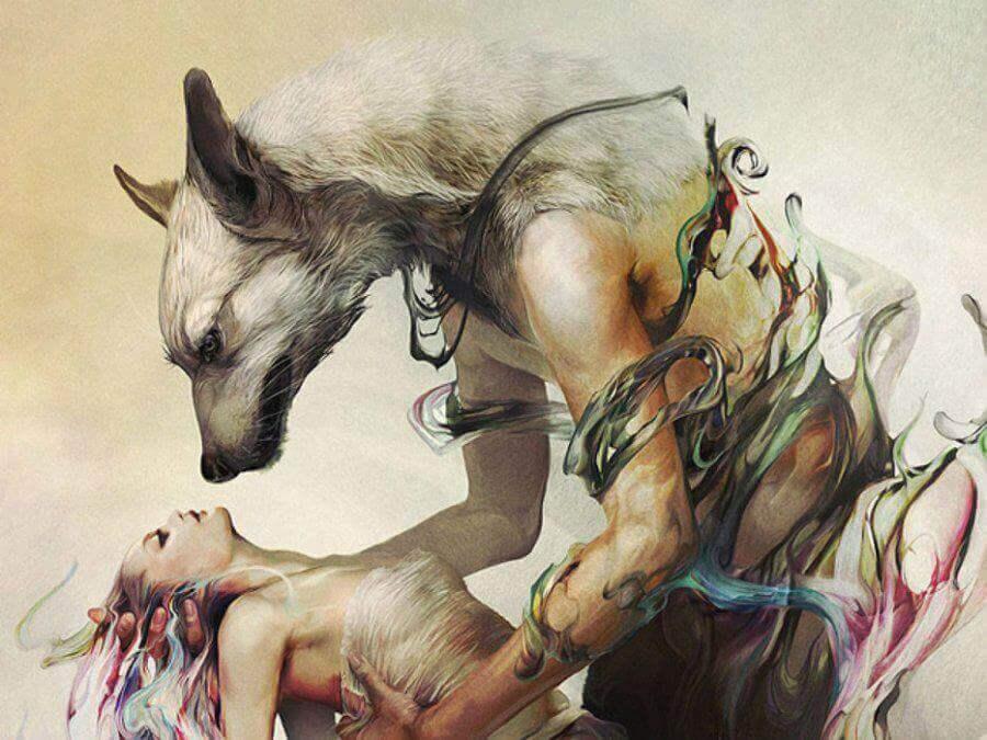 Wolf-haelt-Frau-in-der-Hand