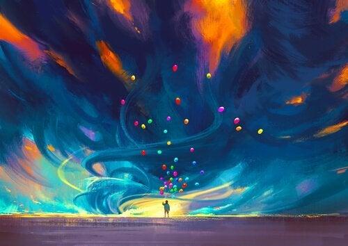 Eine-Person-mit-vielen-bunten-Ballons