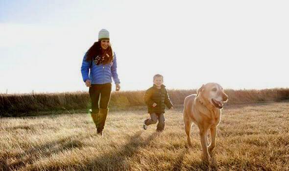 Mutter-Sohn-und-Hund